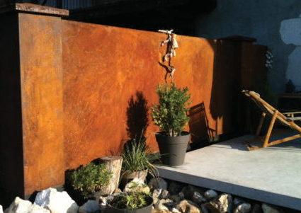 terrasse béton et corten kaoli